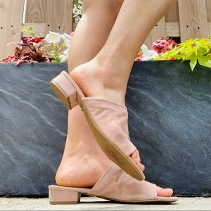 Blush open toe mules size 9